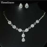 Top Quality White Gold Plated Oval Cut Cubic Zirconia Diamond Necklace And Earrings Jewelry Sets For
