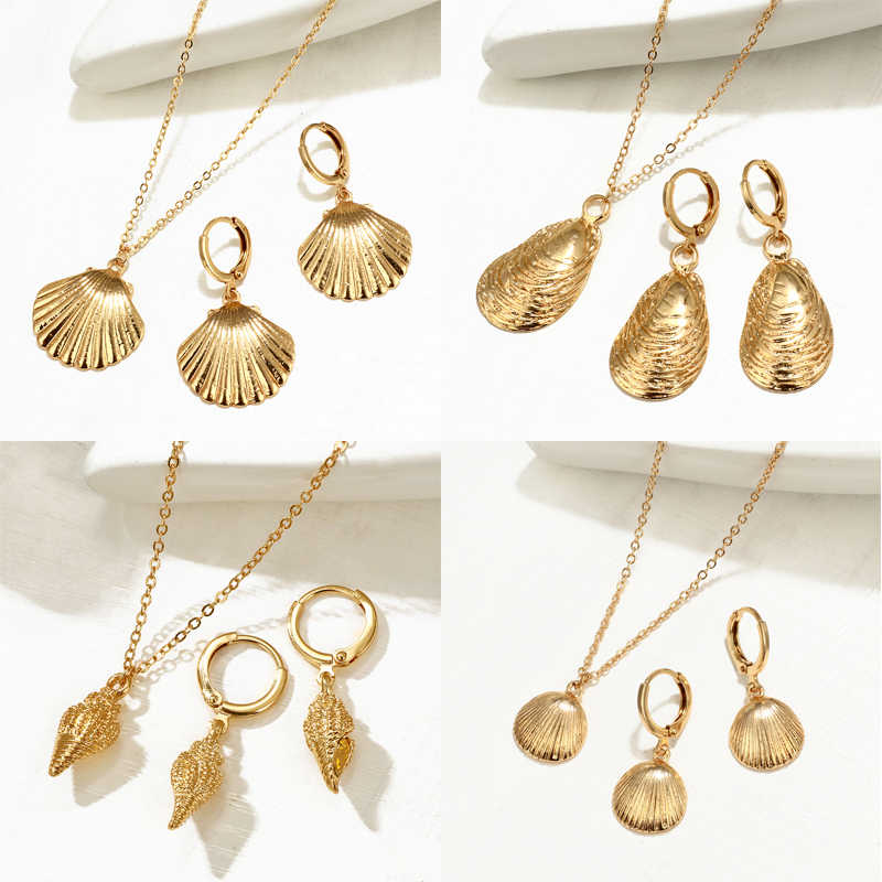 ZOSHI 2019 Fashion Gold Starfish Cowrie Shell Necklace Earrings Set For Women Conch Chain Pendant Necklace Summer Jewelry Sets
