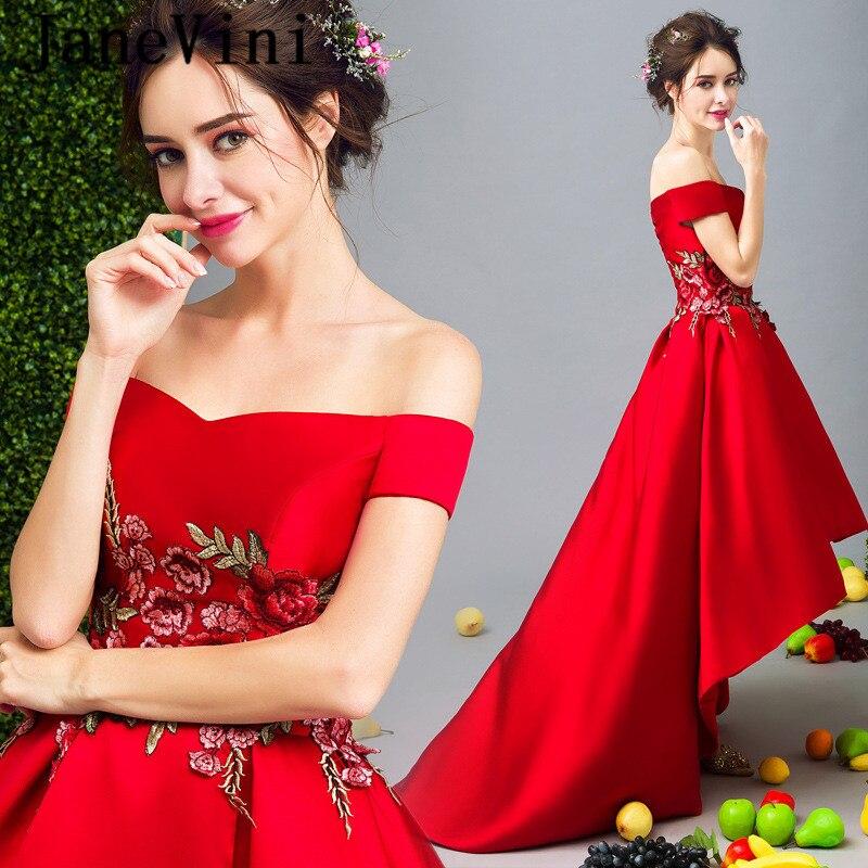 JaneVini Court Avant Long Retour Dames Robes pour le Mariage Party Longues Robes pour Femmes Broderie Haut Bas Rouge de Demoiselle D'honneur Robes