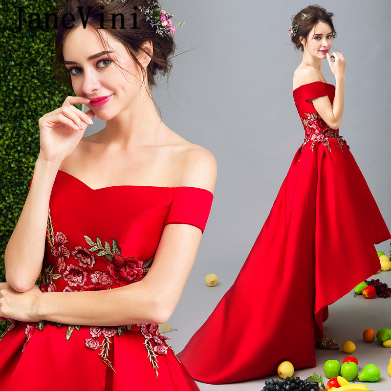 JaneVini Short Front Long Back Ladies Dresses For Wedding Party Long Gowns For Women Embroidery High Low Red Bridesmaid Dresses