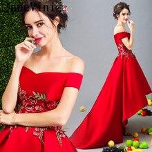 Janevini короткое спереди и длинное сзади дамы Платья для женщин для Свадебная вечеринка длинные платья для Для женщин Вышивка Высокий Низкий красный Подружкам невесты