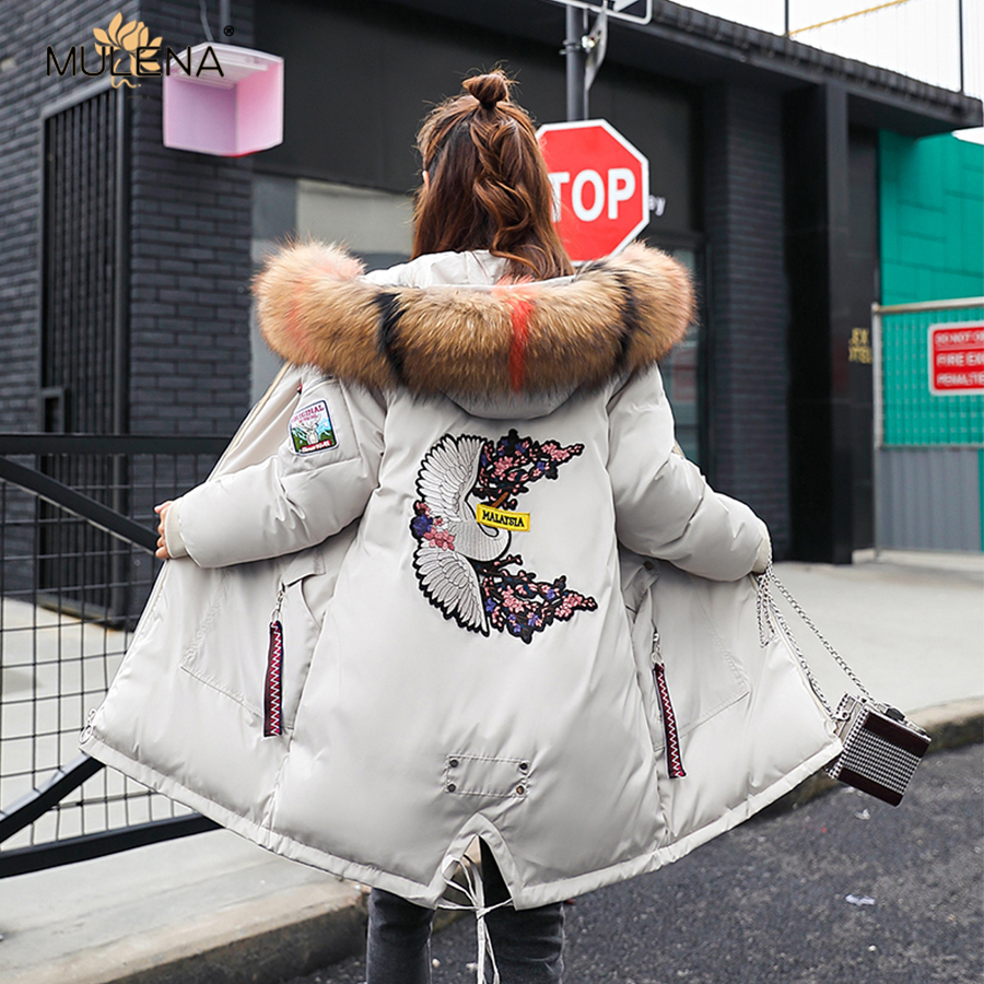 Mulena winter loose thick floral pattern hairy collar long   down     coat   women fashion full sleeves zipper pockets office lady   coats