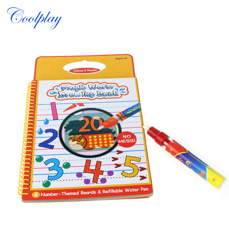 coolplay number magic kid water drawing book with 1 pen intimate coloring water painting book gift - Kids Painting Book