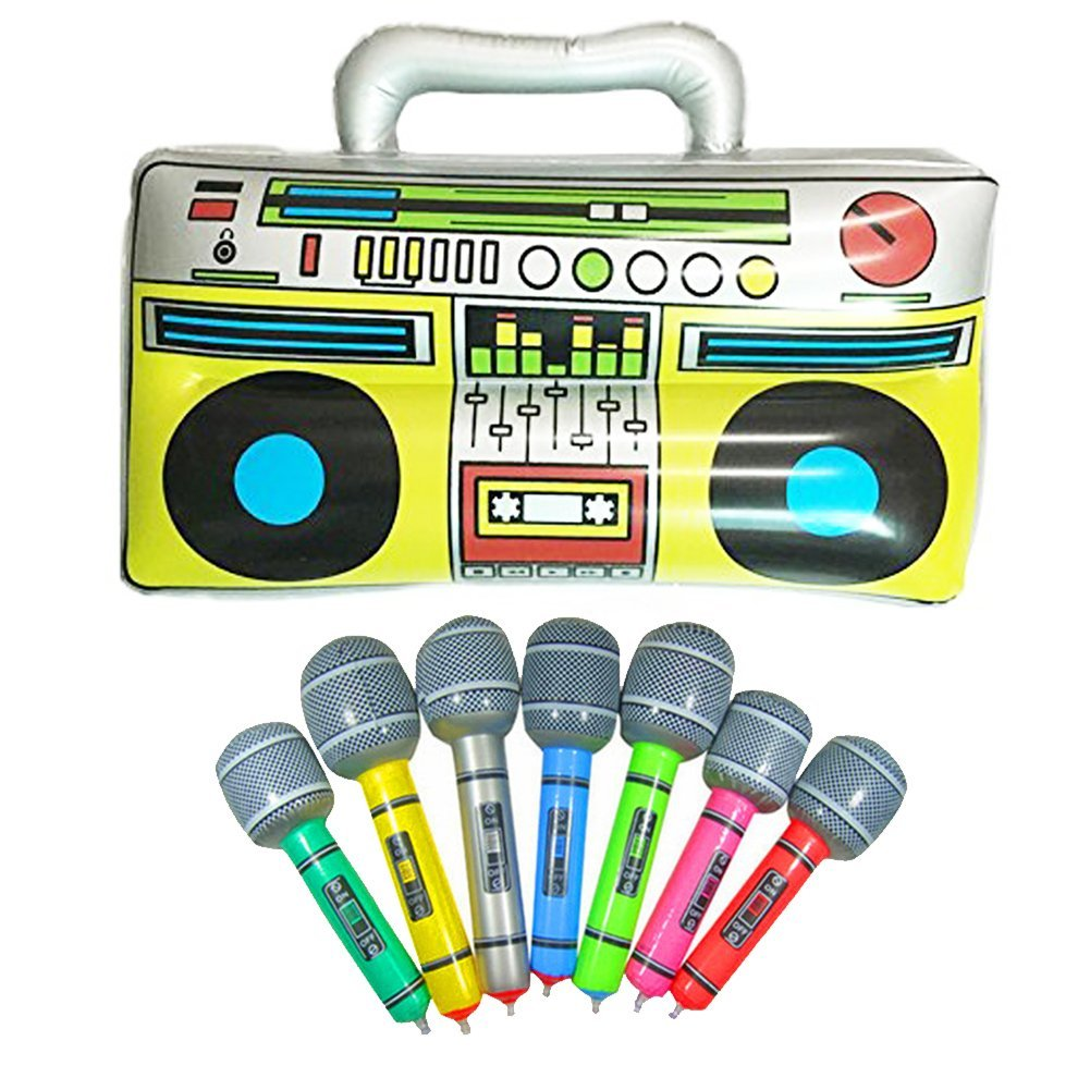 16 inch Party Inflatable Boom Box PVC Radio 2 Microphones