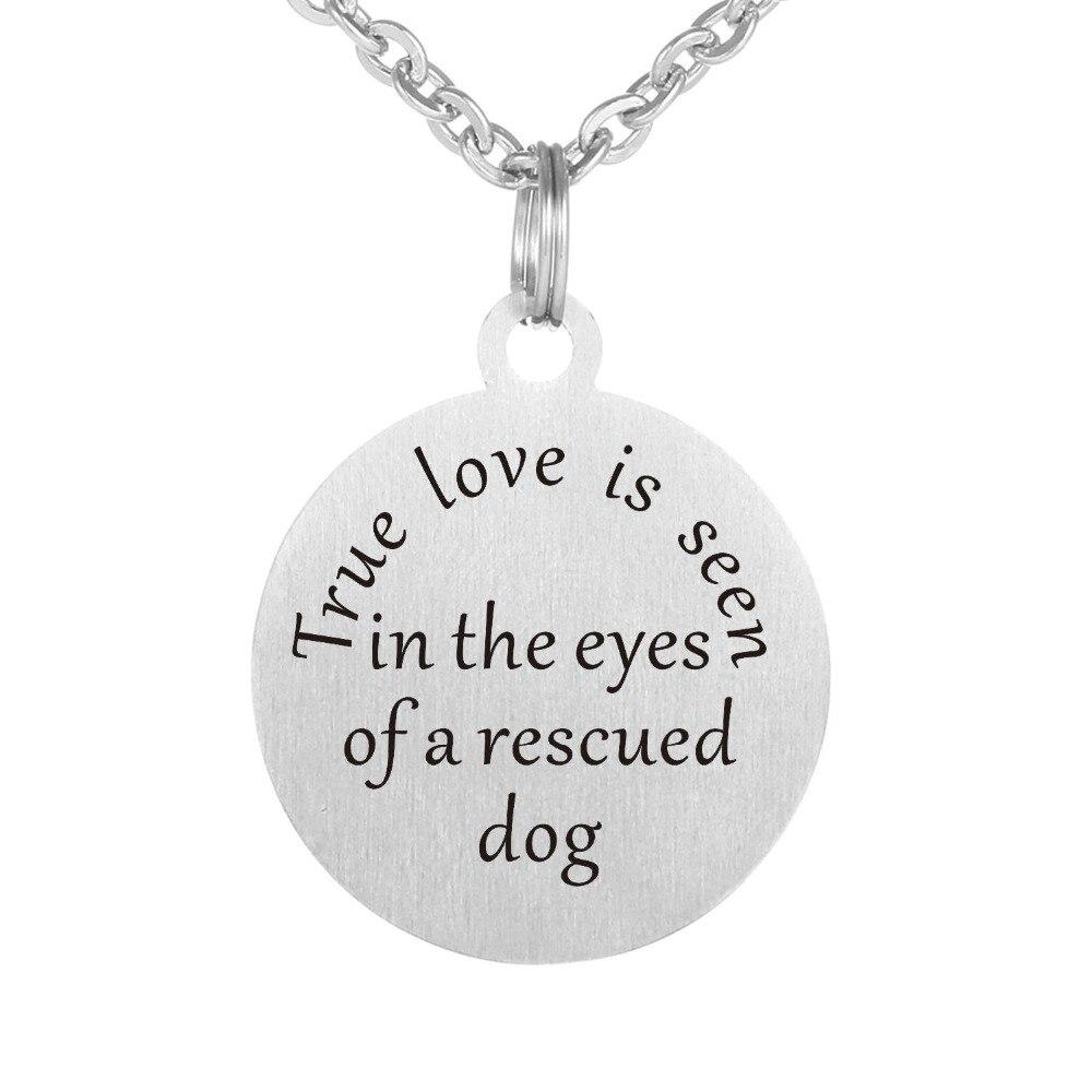 Us 499 Cinta Sejati Adalah Yang Terlihat Di Mata Inspirational Quotes Yang Diselamatkan Anjing Mode Kalung Stainless Steel Liontin Kalung In