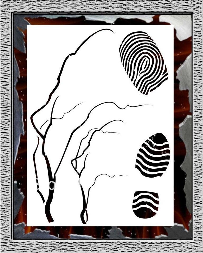 Aérographe Pochoir-Arbres-Hansa Stencil Template Pochoir Trees