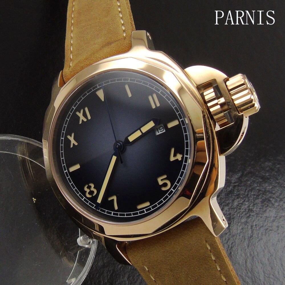 Новый 44 мм Parnis серый циферблат чехол цвета розового золота мужские часы военные армейские сапфировое стекло Дата Регулировка автоматическ