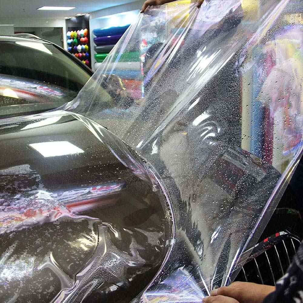 11.81X1.18 pollici Trasparente Dell'involucro Dell'automobile della Pellicola Del Vinile di Alta Trasparente Lucido 3 Strato di Adesivo Auto Decalcomania Copriletto