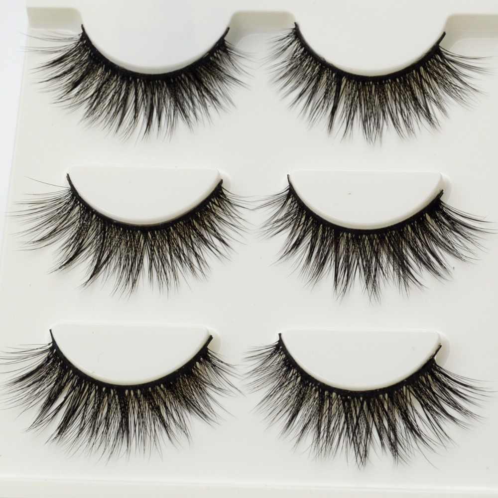 abd2d6205dd 3 Pairs Eyelashes Winged False Lashes Natural Long Cilios Mink False Eyelash  Make Up Beauty Faux
