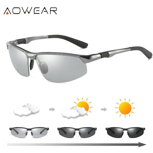 AOWEAR HD الرجال اللونية الاستقطاب النظارات الشمسية الرجال الاستقطاب الحرباء نظارات ليوم ليلة القيادة مضادة للوهج نظارات Gafas