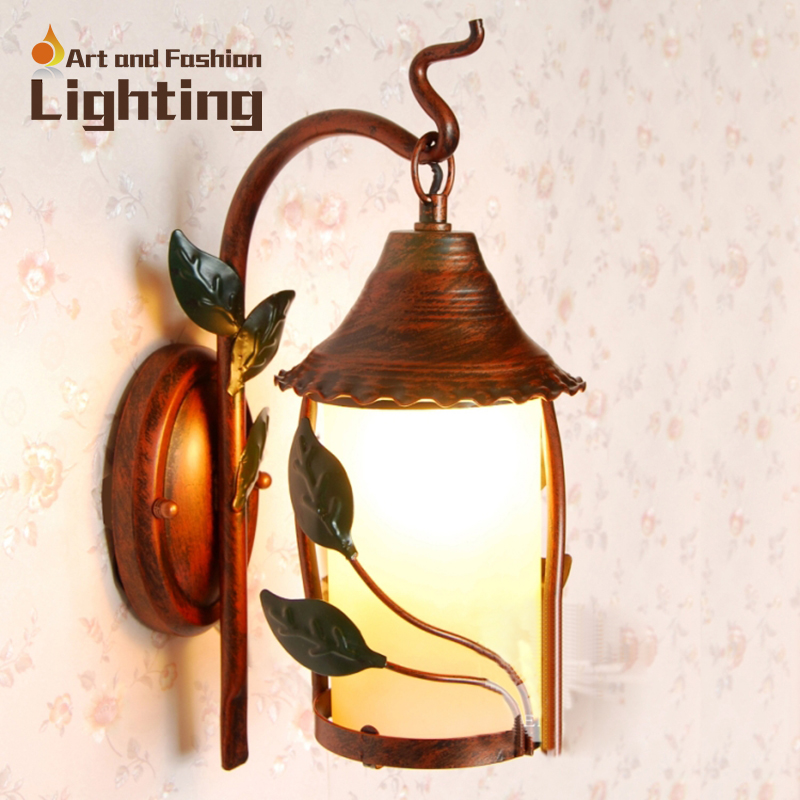 American country antique copper painted wall lamp special offer LED light