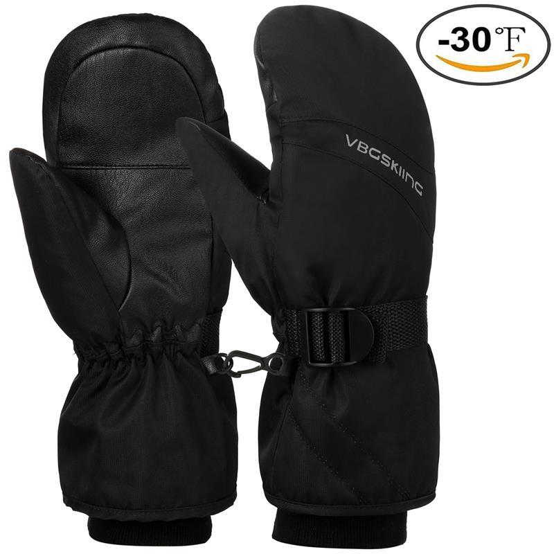 Guantes de esquí Unisex negros RUNACC guantes de invierno gruesos a prueba de salpicaduras guantes deportivos guantes de clima frío hebilla ajustable