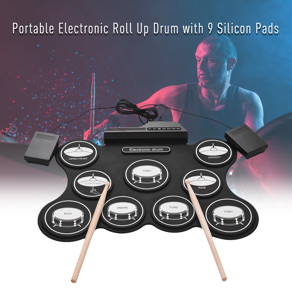 Portable Electronic Drum USB Digital Roll Up Drum Kit Set 9 Silicon Drum Pads with Drumsticks