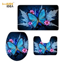 Купить с кэшбэком HUGSIDEA 3D Cute Animal Blue Butterfly Print Toilet Seat Covers Mat 3PCS Set Warmer Soft Bathroom Carpet Toilet Accessories Set