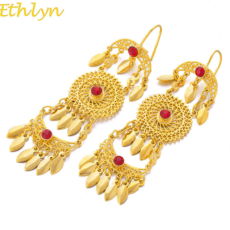 Ethiopia Ethlyn 2017 Baru Warna Emas Drop Earrings Gaya Afrika untuk Wanita Pernikahan Perhiasan Vintage Red Stone Earrings E54