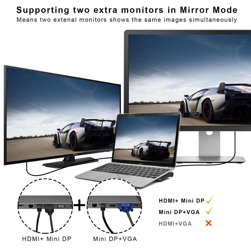 Station d'accueil type-c 3.1 moyeu Macbook Pro multifonction en aluminium vers HDMI/VGA/Mini DP/SD/TF/RJ45/USB 3.0/USB-C PD femelle-gris - 2