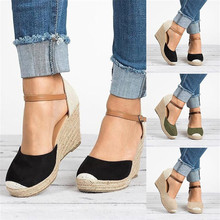 Women Shoes Suede Wedges High Ankle Sandals Round Toe Casual Shoes 2019 New High Slope Round Head Sandals Casual Shoe