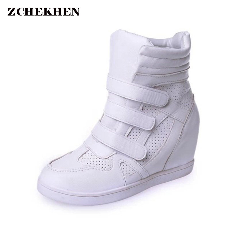 2018 Women Casual boots Wedges Platform Hidden Increasing Sneakers PU Leather Shoes Woman Breathable High Top White Shoes new fashion women height increasing summer breathable waterproof wedges sneakers platform shoes woman pu leather casual shoe