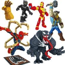 Uncompatible Legoing Marvel Avengers Spider Iron Man Sets Diamond Blocks Thanos Infinity War 3 Nano Super Heroes Venom Captain(China)