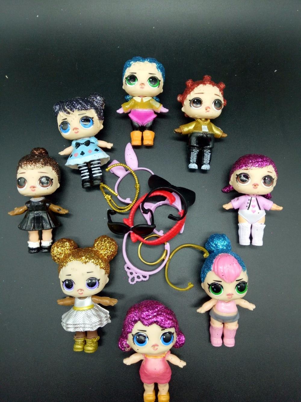 8pcs Shiny hair and many accessories Lol Lol doll toys