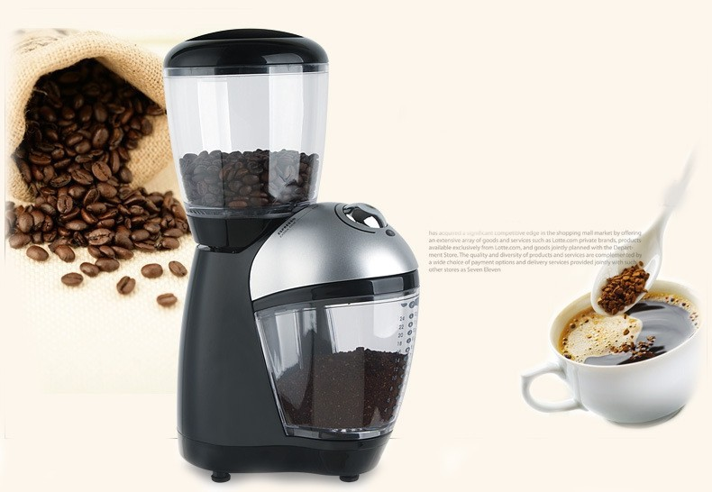 Burr grinder 7oz (200g) bean capacity/electric home coffee grinder /cafe grinder/coffee mill with titanium alloy grinding plate burr grinder coffee bean miller electric 220v electric coffee grinder coffee grinding machine powder mill
