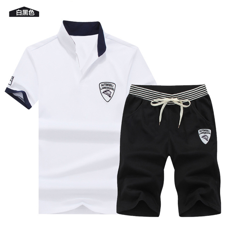 Two Piece Set Men Short Sleeve T Shirt Cropped Top+Shorts Men's Tracksuits 2019  New Causal Sportswear Tops Short Trousers 2