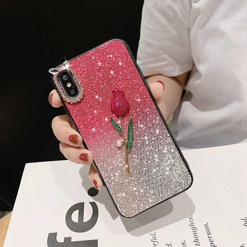 Caso de diamantes para Huawei Honor 8 9 Lite 10 v9 v10 9i 7X 8X 8C Y5 Y6 Y9 2018, 2019 funda de botella de Perfume de Play Roses gradiente en polvo