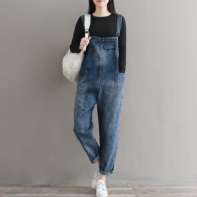 New womens Japanese female female students loose large size washed strap jeans womens trousers