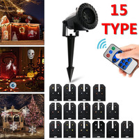 Oobest New Christmas Decoration Waterproof Outdoor LED Stage Lights With 15 Replaceable Patterns Holiday Laser Projector