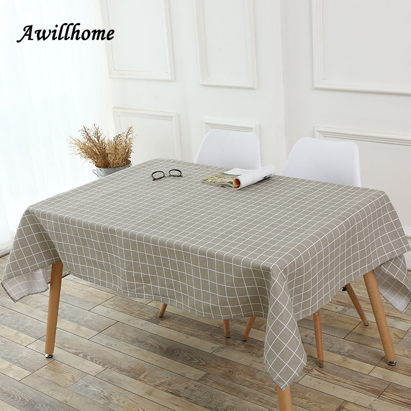 Awillhome 11Size Gray Tablecloths Plaid Home Rectangle Tablecloths Linen  Modern Dining Table Cloths Factory Table Covers Party In Tablecloths From  Home ...