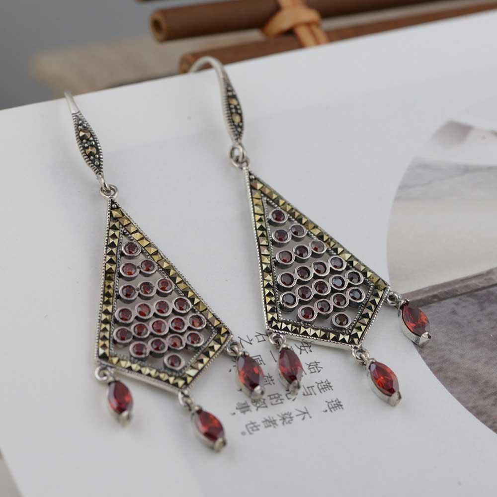 FNJ 925 Silver Statement Drop Earrings for Women Jewelry Red Zircon Stone 100% S925 Sterling Silver boucle d'oreille Earring fnj 100