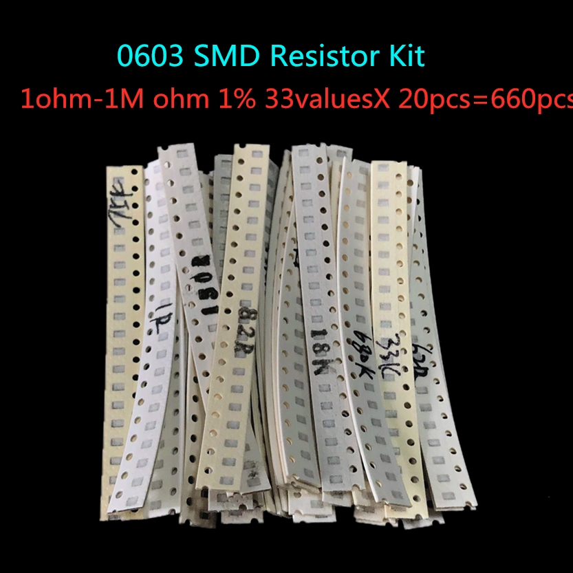 0603 SMD <font><b>Resistor</b></font> Kit Assorted Kit 1ohm-1M ohm 1% 33valuesX 20pcs=660pcs Sample Kit image