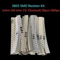 0603 SMD resistencia Kit surtido 1ohm-1M ohm 1% 33 valoresx 20 piezas = 660 Uds Kit de Muestra