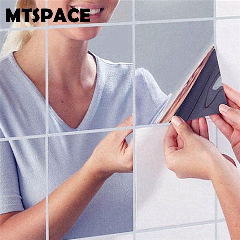MTSPACE 9 pièces/ensemble miroir Stickers muraux décalcomanie auto-adhésif carreaux miroir autocollants 3D miroir mur Art décoration maison Stickers muraux
