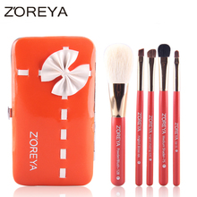ZOREYA Brand 5pcs Goat Hair Mini Makeup Brush Set Soft Cosmetic Tool Pincel Maquiagem Free Shipping