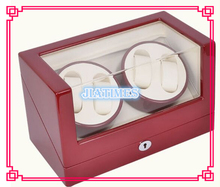New 4+0 Automatic Wooden Wine Red + White Watch Winder Storage Display Case Box Rotate Leather