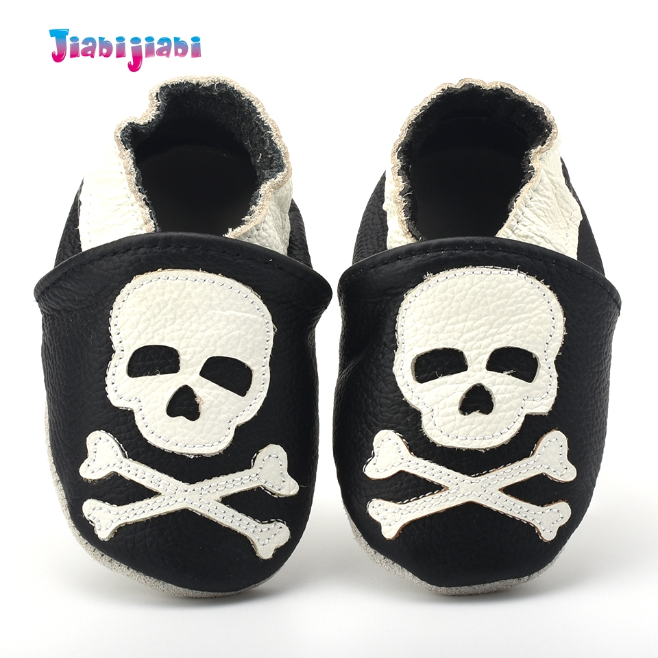 Baby boy Skull beige black leather shoes infant cool cartoon soft sole shoes todder first walker shoes for 0-2T