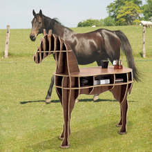 "J&E High-end 48.8"" horse desk horse coffee table wooden home furniture FSC-certified"