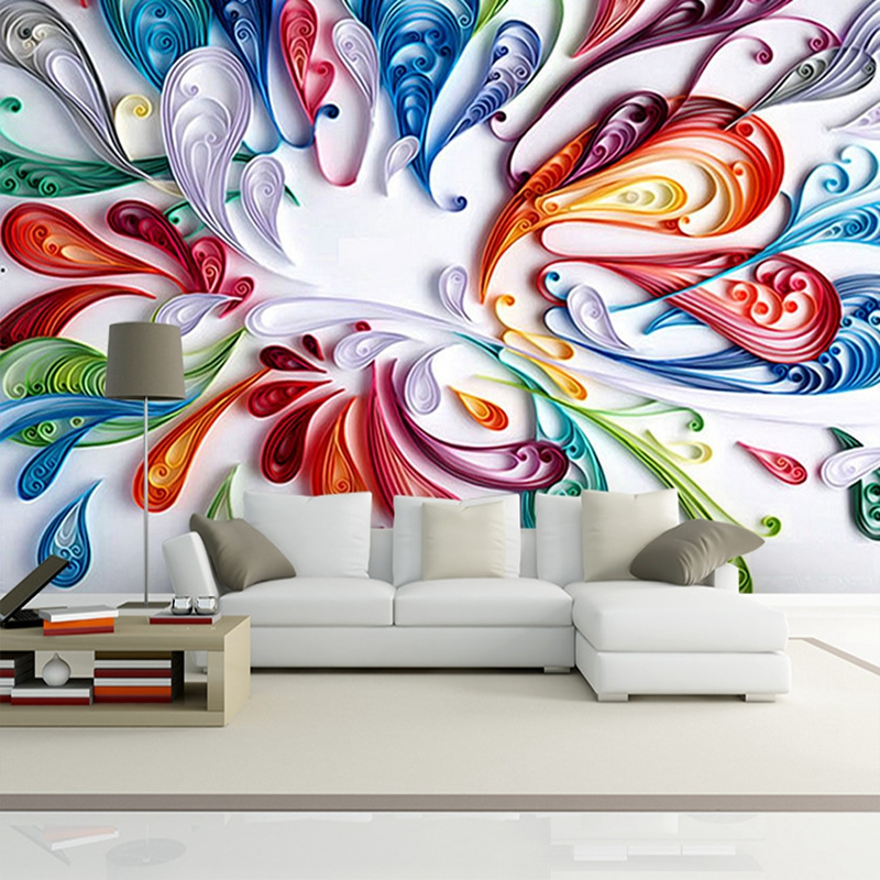 Customized Photo 3D murals 3d wallpapers Art abstract 3D wallpaper for living room TV backdrop 3d wall paper DIY Home Decoration customized home personalized seamless integration of the abstract paintings lotus wallpaper 1x3m