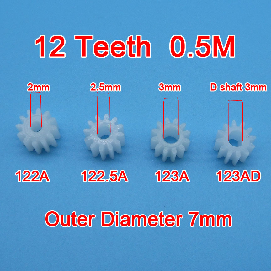Sample Order 10pcs 12 Teeth Gear 0.5M 122A 123A 122.5A 123AD Toy Model Aircraft Parts Gears