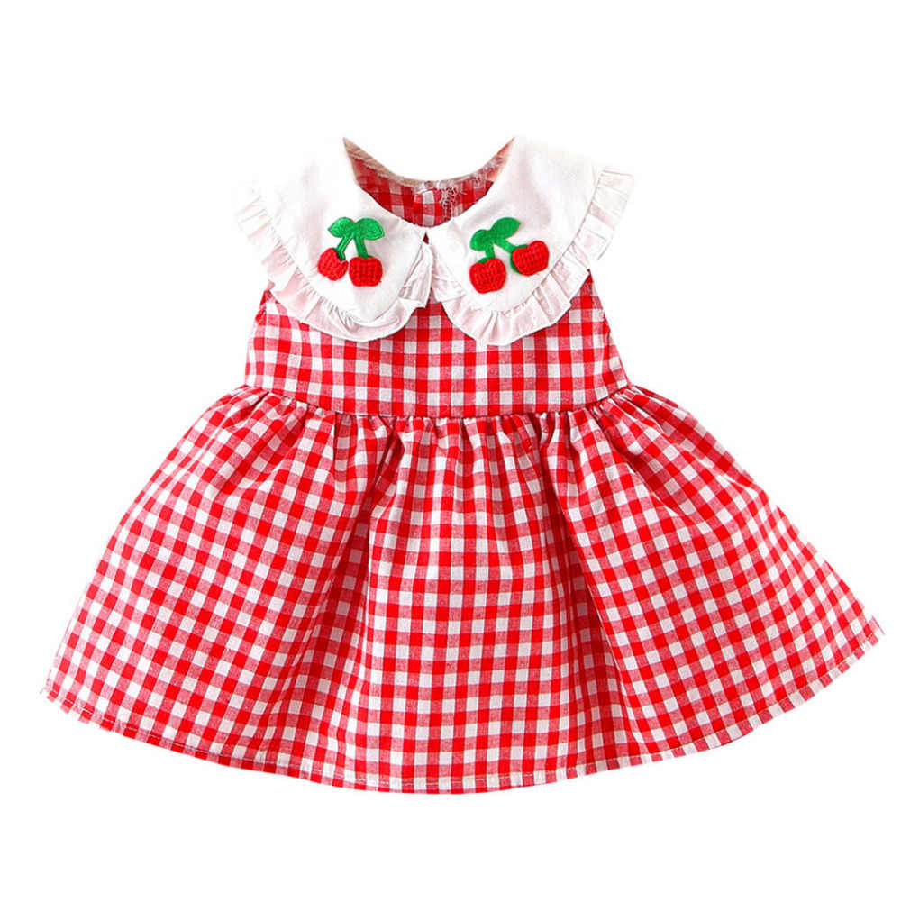 MUQGEW 2019 Hot Sale Summer Newborn Baby Girl Dress Sleeveless Wear Cherry Plaid Embroideried Fruit Ruffled Princess Sundress