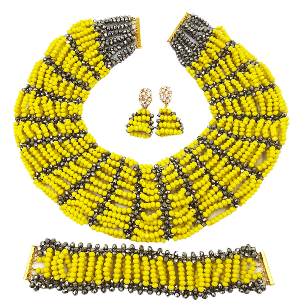 Opaque Yellow Silver Nigerian Jewelry Set African Wedding Beads Sets Crystal Beaded Necklace Bracelet Earrings SXK013Opaque Yellow Silver Nigerian Jewelry Set African Wedding Beads Sets Crystal Beaded Necklace Bracelet Earrings SXK013