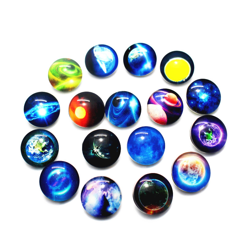 Hot Sale 20pcs/lot Glow in The Dark Space Snap Button Glass Galaxy Glowing Buttons Fit 18mm DIY Snap Bracelet Necklace Jewelry