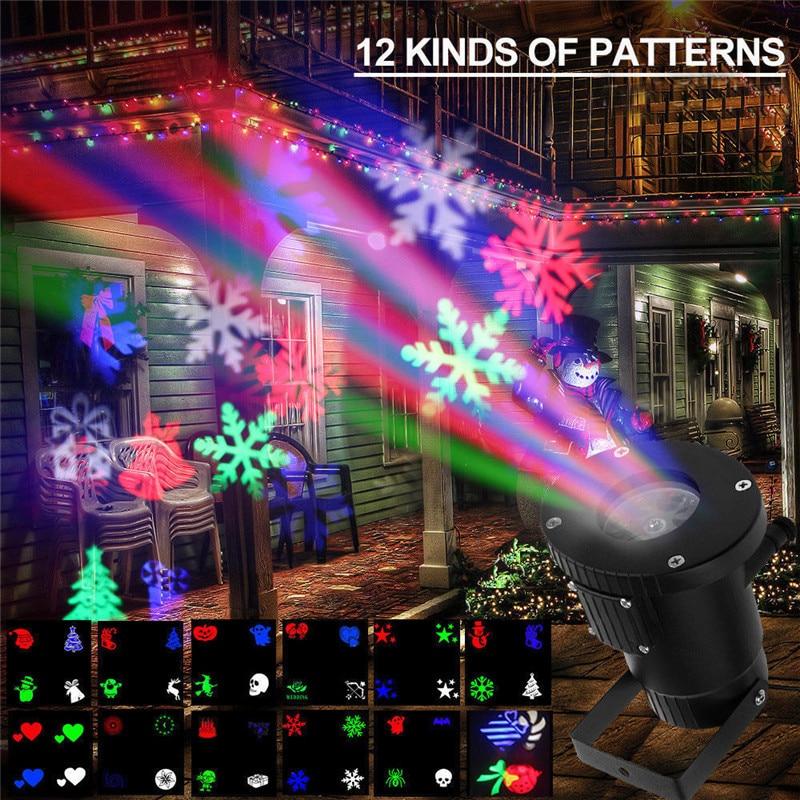 LED 12pattern Christmas Laser Snowflake Projector Outdoor Waterproof Disco Lights Home Garden Star Light Indoor Decoration lamp