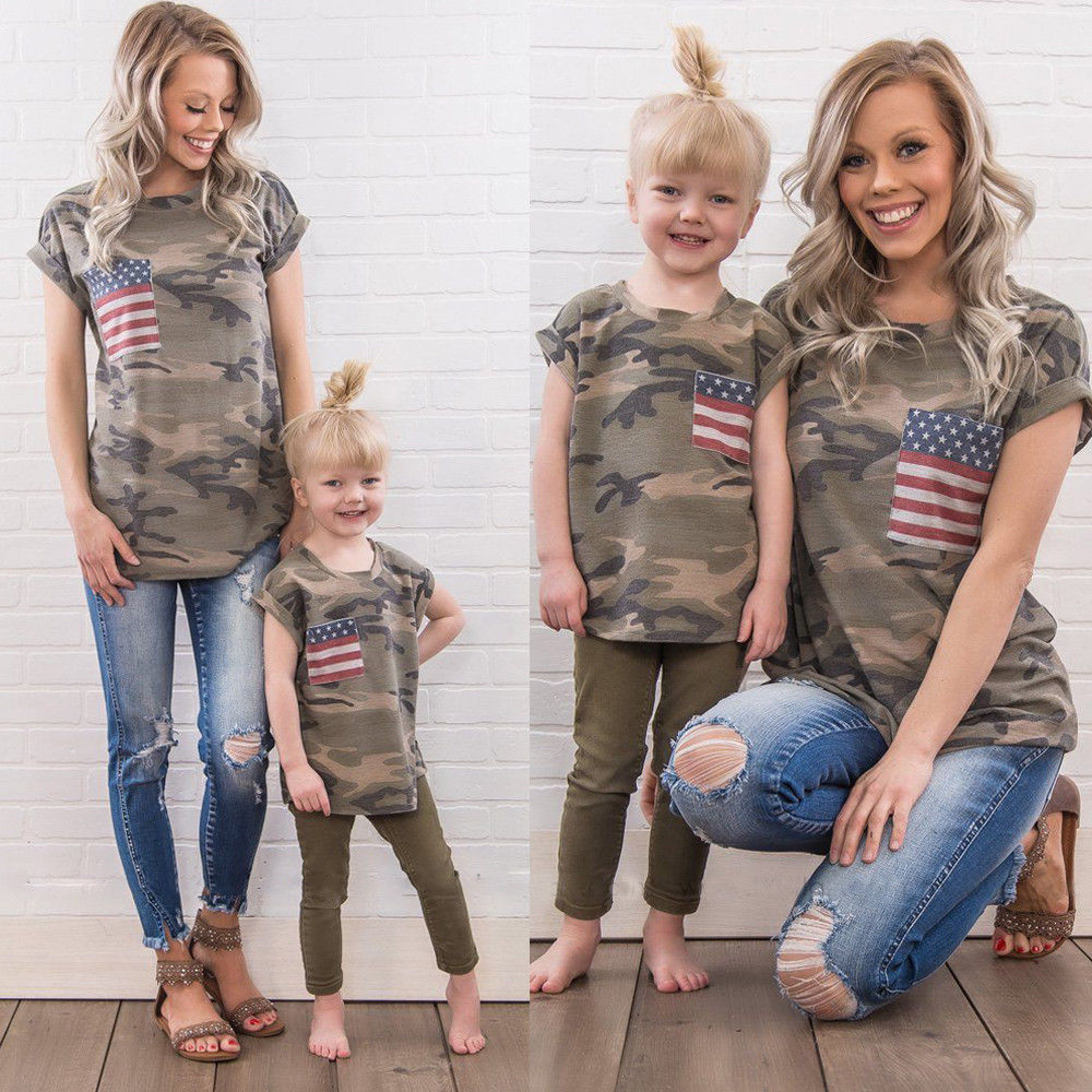 2018 Family Matching Outfits July 4th T Shirt Mother Flag Daughter Son Tops Blouse Summer Cute Camo Summer