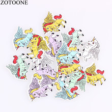 ZOTOONE 100PCS Mix Color Cute Little Horse Unicorn Wing Wooden Button 2 Holes Retro Design Badge Cartoon Animal Gift for Kids D