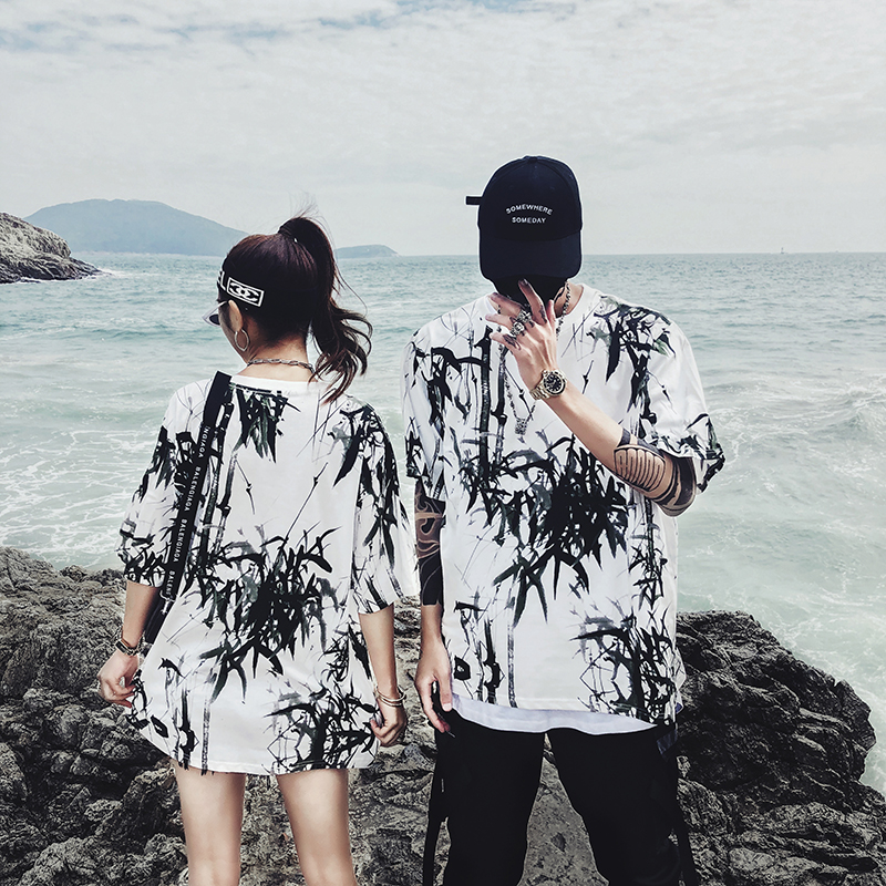 Dropshipping 2019 summer new bamboo splash ink Chinese painting short-sleeved shirt hip-hop oversized couple men women T-shirt 19