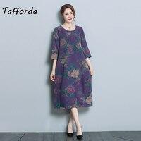 New 2018 Tafforda Elegant Printing Women Dress Loose Vintage Style Slim Retro Silk Dress Summer O