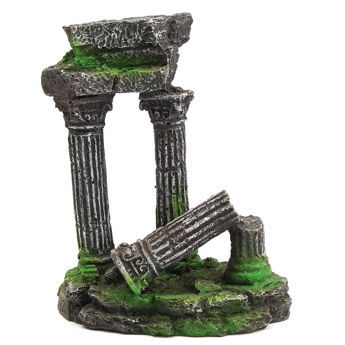 Resin Artificial Aquarium Roman Column Decoration Ancient Ruin Ornament Fish Tank Stone Cave Rock