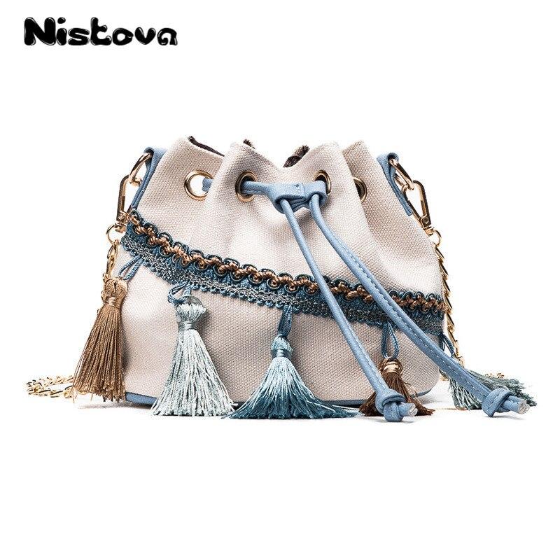 Women's Canvas Tote Bag Tassel Chain Messenger Bag Women's Bag Shoulder Bag Bucket Shape Canvas Handbag